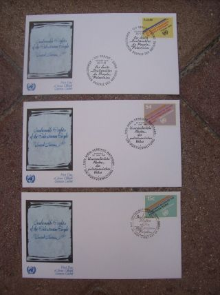 3 Fdc First Day Of Issue Geneva Cachet United Nations S4 Palestine Palestinian photo