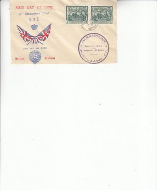 British Guiana Fdc E Ii R Long May She Reign 1st December 1954 Ultra Cachet photo