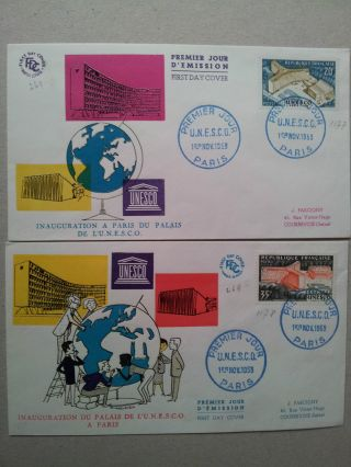 France 1958 2 Fdcs Inauguration Of Office Headquarters Of Unesco In Paris photo