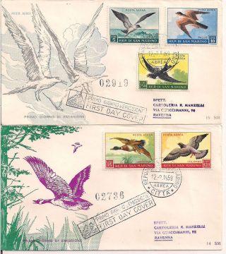 S.  Marino - 1959 Birds Fdc - Vf A.  122 - 6 photo