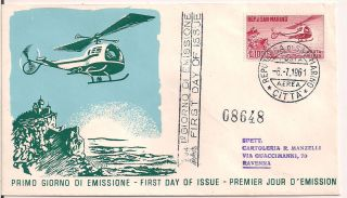 S.  Marino - 1961 Helicopter Fdc - Vf A 138 photo