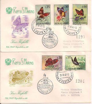 S.  Marino - 1963 Butterflies Fdc - Vf 644 - 48 photo