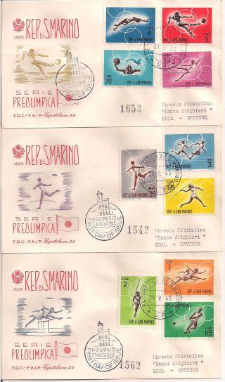 S.  Marino - 1963 Olympics Fdc - Vf 649 - 58 photo