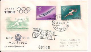 S.  Marino - 1964 Olympics Fdc - Vf 660 - 1 photo