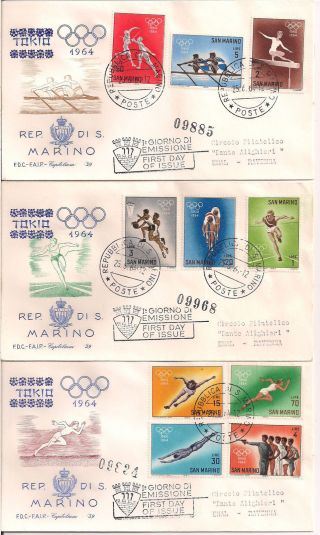 S.  Marino - 1964 Olympics Fdc - Vf 662 - 71 photo