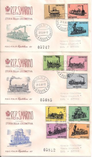 S.  Marino - 1964 Railways Fdc - Vf 672 - 81 photo