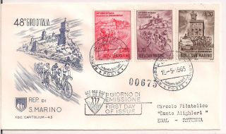 S.  Marino - 1965 Cycling Fdc - Vf 687 - 9 photo