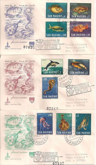 S.  Marino - 1966 Fishes Fdc - Vf 721 - 30 photo