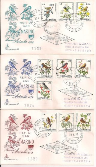 S.  Marino - 1972 Birds Fdc - Vf 855 - 64 photo