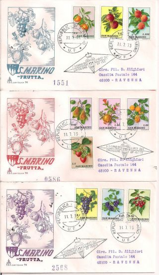 S.  Marino - 1973 Fruits Fdc - Vf 882 - 91 photo