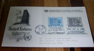 Look Rare United Nations Fdc 15th Anniversary Sheet Special Print 1960 photo