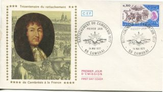 1977 France Battel Of Cambray & Attachment Into France Official Cachet Unadr Fdc photo