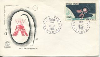 1966 France Launching Of D - 1 Satellite Cachet & Story Unaddressed Fdc photo