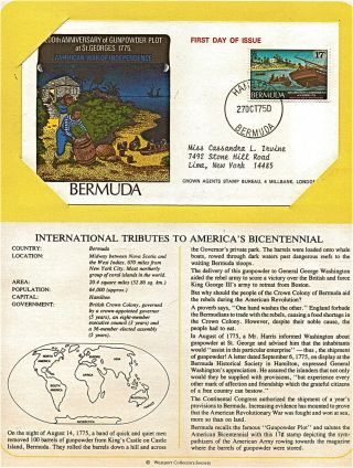 Bermuda Tribute To America ' S Bicentennial 1975 First Day Issue Fdc