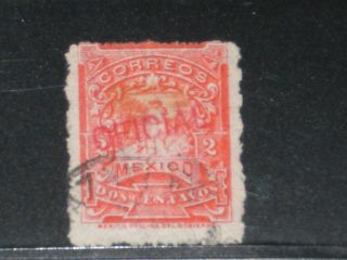 Mexico Stamp Official Red Overprint Sc O31 Rough Perf.  1897 F/u photo