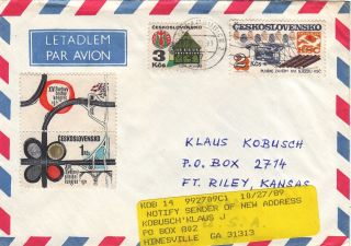 1989 Pardubice,  Czechoslovakia Air Mail Cover To The Usa - - Forwarding Label photo