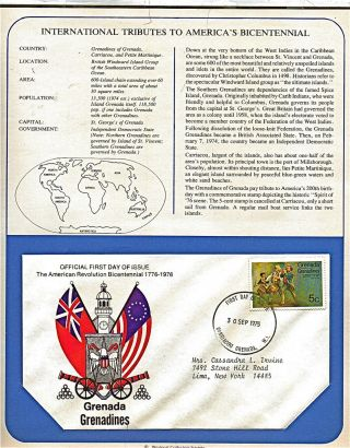 Grenada Tribute To America ' S Bicentennial 1975 First Day Issue Fdc