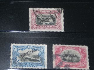 Mexico Stamp Official Handstamped 50ct,  1 - 5 Pesos High Value 1898 - 1910,  F/u photo