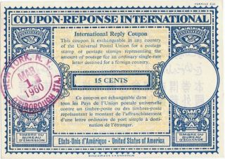1960 Usa York Coupon - Reply International 15 Cents photo