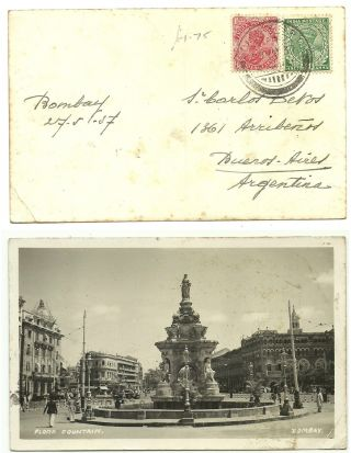 India 1937 Real Photo Postcard Flora Fountain People Car Bombay Argentina photo
