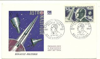 France 1967 First Day Cover Astronaut Space Esnault Pelterie Picto.  Can. photo