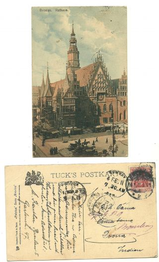 Germany 1911 Tuck ' S Postcard Rathaus People Horsecart Shops Breslau India photo