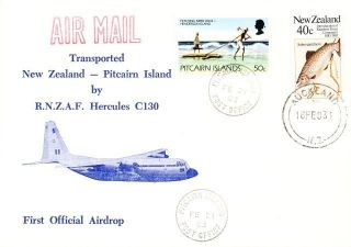First Flight: Zealand To Pitcairn Island: Hecules Airdrop: 16 Feb.  1983 photo