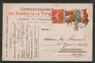 France - Switzerlan - Postcard - Flags photo