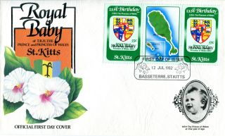 St Kitts 1982 Birth Of Prince William 55c Gutter Pair First Day Cover photo