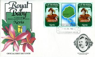 Nevis 1982 Birth Of Prince William 30c Gutter Pair First Day Cover (b) photo