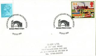 20 July 1993 Inland Waterways Cover Canals Bicentenary Watford Herts Shs photo