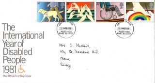 25 March 1981 Year Of Disabled People Post Office First Day Cover Hastings Fdi photo