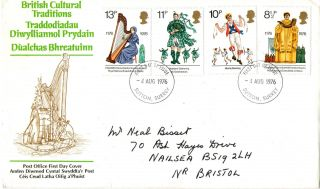 4 August 1976 British Cultural Traditions Po First Day Cover Sutton Surrey Fdi photo