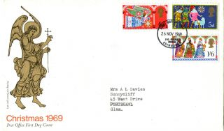26 November 1969 Christmas Post Office First Day Cover Bureau Shs (a) photo