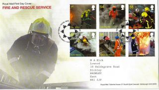 1 September 2009 Fire & Rescue Service Royal Mail First Day Cover Bureau Shs photo