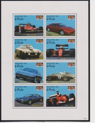 Maldives 60th Anniversary Of The Ferrari Sheet Of 8 Scott 2940 photo