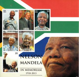 Liberia 2013 Nelson Mandela In Memoriam 1918 - 2013 I 6v M/s Death Anc Leader photo