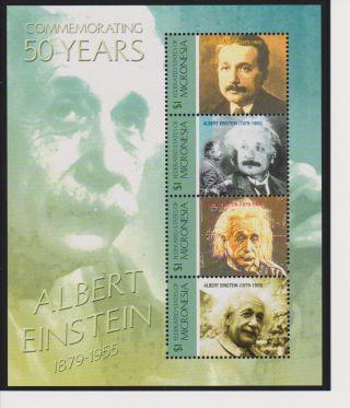 Micronesia Albert Einstein 50th Memorial Anniversary Sheet Of 4 Scott 660 photo