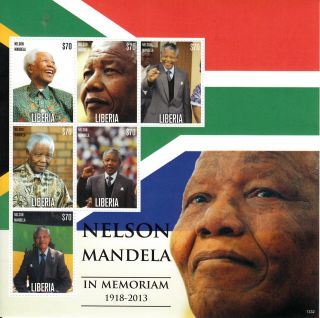 Liberia 2013 Nelson Mandela In Memoriam 1918 - 2013 Ii 6v M/s Death Anc Leader photo