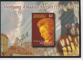 Micronesia Wolfgang Amadeus Mozart 250th Birth Anniversary S/s Scott 724 photo