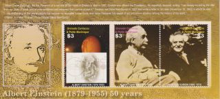 Grenadines Of Grenada Albert Einstein 50th Memorial Ann.  Sheet Of 3 Scott 26 photo