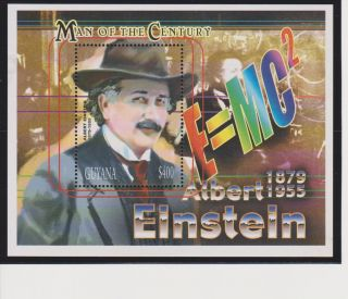 Guyana Albert Einstein 50th Memorial Anniversary Issue S/s Scott 3501 photo