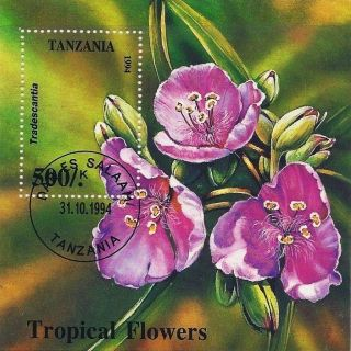 1994 Tanzania Postage Souvenir Sheet Tropical Flowers Flora Plants Botany Cto photo