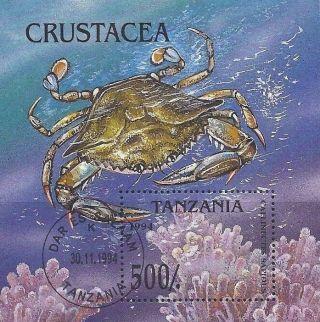 1994 Tanzania Africa Postage Souvenir Sheet Crab Sea Life Coral Ocean Marine Cto photo