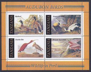 1986 Tanzania Sheet Of 4 Audubon Art Birds Nature Duck Crane Ibis Swan Goose photo