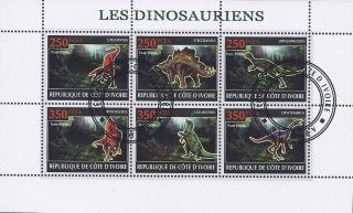 2009 Ivory Coast Postage Mini - Sheet Prehistoric Dinosaurs Reptiles Fossil Cto photo