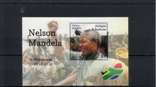 Antigua & Barbuda 2013 Nelson Mandela In Memoriam 1v S/s Death Anc Leader photo