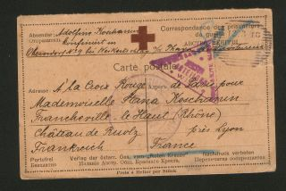 Wwi - Austria - France - Censorship Pow Postacard - Red Cross - 1918 photo