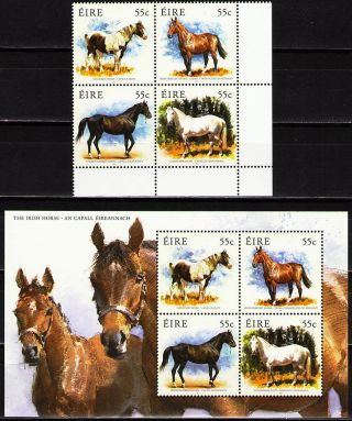 Ireland 2011 Horses 1block Of 4 Dif.  + 1 Ss photo