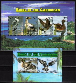 St.  Vincent & Grenadines Canouan 2011 Birds 1 Ms Of 4 Dif.  + 1 Ss photo